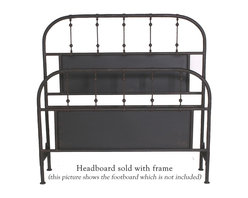 "Mathews & Company - Burlington Headboard - The Burlington Headboard is all about sleek simplicity. This beautifully handcrafted headboard will grace any d̩cor. The headboard features a lovely matte black finish that will accent any color scheme to perfection. Gently rounded corners of the headboard have been built to last, while straight grills are accented with ball-like embellishments to break the monotony. The lovely finish of this headboard boasts the exceptional skill and handwork of the artisans who created lovely headboard. This headboard is classically elegant and will stand the test of time, enduring years and years of use. You will love the look and feel of this piece. This wrought iron headboard exudes timeless grace and elegance and will always work no matter what fashion trend is currently considered ""in"". Pictured in Black finish."