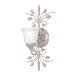 Crystorama - Crystorama Paris Flea Market Wall Sconce X-HB-1474 - Wrought iron Blush wall sconce adorned with clear beads and white Scavo glass.