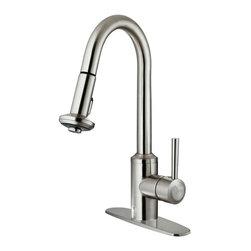 Vigo - Vigo Pull-Out Spray Kitchen Faucet w/ Deck Plate, Stainless Steel (VG02012STK1) - Vigo VG02012STK1 Pull-Out Spray Kitchen Faucet with Deck Plate, Stainless Steel