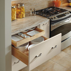 Dynasty Drawer Base with Roll Out Trays - The combination of generous drawer below and a sliding roll tray above does double duty on storing your items.