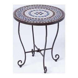 Alfresco Home - Alfresco Home Tremiti Mosaic Side Table - Combining classical style and affordable pricing Alfresco home and patio is a dealer and importer of furnishings décor and accessories. With a focus on European designs Alfresco offers a wide variety of styles with an emphasis on cast aluminum pieces.  Alfresco Home offers a full line of dining and deep-seating pieces as well as indoor accent furniture and garden accent furniture. Alfresco has a variety of casual style aluminum wrought iron and wicker sets. Features include Requires Assembly 1 year limited warranty Brown blue and white toned ceramic tiles For indoor or outdoor use Weather resistant powder coat Charcoal paint finish Each table top is hand-made a true work of art! No two are alike Hose off or wipe clean with a soft cloth and water. Do not use harsh chemcials. Table top must be stored indoors during harsh winter months. Freezing can cause the grout to crack and tiles to loosen.. Specifications Finish: Charcoal.