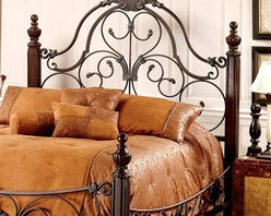 Hillsdale Furniture - Bonaire Scrolled Metal Headboard in Brushed B - Choose Bed Size: Full/QueenTimeless style and exceptional value make this headboard a sensible option for your bedroom. Elegant metal scrolls punctuate the overall design, while each corner post boasts ridged architecture and rounded finials. Adds warmth & tradition at budget-friendly price. You choose size. For residential use. Includes only the headboard & support rails. Does not include the footboard & side rails. Verdigris posts. Full/Queen: 65.5 in. W x 3.25 in. D x 69 in. H. King: 83.5 in. W x 3.25 in. D x 69 in. HEnjoy a royal night of well-deserved rest on the regal Bonaire bed which anchored by 4 impressively carved Bronze and verdigris highlighted posts.