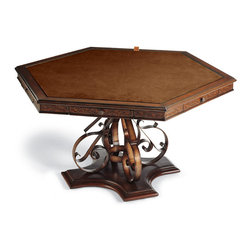 Frontgate - Saratoga Game Table - Unique, handcarved leather apron. Features a reversible felted top and storage drawers with chip trays. Roomy chairs have thickly padded seats covered in full-grain, aniline-dyed leather. Chairs have a smooth 180° swivel and ball casters for easy movement. Finished with nailhead trim. The ornate, hand-forged wrought iron base gives the Saratoga Game Table a distinctive style advantage, while the handcarved leather tabletop and chair backs add extraordinary character. The hexagonal table comfortably seats six for a night of board games or cards. .  . . Chairs have a smooth 180 degrees swivel and ball casters for easy movement. . Simple assembly.