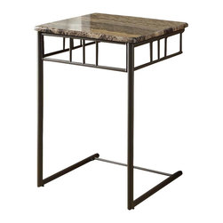 Monarch Specialties - Monarch Specialties 18 Inch Square End Table in Cappuccino, Bronze - What a convenient way to eat or drink on your couch! This classic cappuccino marble-look snack table has sufficient space for you to place your snacks, drinks and even meals. Its bronze metal base provides sturdy support along with an elegant touch that will suit any decor. What's included: End Table (1).