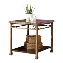 """Signature Design by Ashley - 31""""W x 30""""D x 7.5""""H Height Vintage Garden - Table tops wrapped with print brown Travertine laminate. Table base made with tubular metal in a light toned aged looking finish. Shelves made with select veneer in a dark brown finish."""