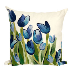 "Trans-Ocean Inc - Allover Tulips Blue 20"" Square Indoor Outdoor Pillow - The highly detailed painterly effect is achieved by Liora Mannes patented Lamontage process which combines hand crafted art with cutting edge technology. These pillows are made with 100% polyester microfiber for an extra soft hand, and a 100% Polyester Insert. Liora Manne's pillows are suitable for Indoors or Outdoors, are antimicrobial, have a removable cover with a zipper closure for easy-care, and are handwashable.; Material: 100% Polyester; Primary Color: Blue;  Secondary Colors: green, white; Pattern: Allover Tulips; Dimensions: 20 inches length x 20 inches width; Construction: Hand Made; Care Instructions: Hand wash with mild detergent. Air dry flat. Do not use a hard bristle brush."