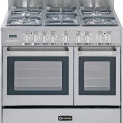 "Verona - VEFSGE365DSS 36"" Double Oven Dual Fuel Range  5 Sealed Gas Burners  2.4 cu. ft. - The Verona VEFSGE365D 36 in 5-burner double oven duel fuel range offers flexibility and efficiency Chrome knobs and handles porcelain cast-iron grates and caps and EZ clean porcelain oven surface allow effortless glide so you can add check and remove..."
