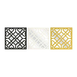 Prinstly Wall Mirrors - Set of 3 - Graphic, bold pattern overlaps the set of three Prinstly wall mirrors in black, canary and white. Buy multiple sets to make a dramatic statement.