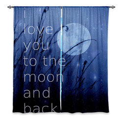 """DiaNoche Designs - Window Curtains Lined by Monika Strigel Love You to the Moon - Purchasing window curtains just got easier and better! Create a designer look to any of your living spaces with our decorative and unique """"Lined Window Curtains."""" Perfect for the living room, dining room or bedroom, these artistic curtains are an easy and inexpensive way to add color and style when decorating your home.  This is a woven poly material that filters outside light and creates a privacy barrier.  Each package includes two easy-to-hang, 3 inch diameter pole-pocket curtain panels.  The width listed is the total measurement of the two panels.  Curtain rod sold separately. Easy care, machine wash cold, tumble dry low, iron low if needed.  Printed in the USA."""