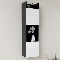 "Fresca - Fresca Bathroom Linen Cabinet w/3 Open Shelves - Add storage space with style when you install a Fresca Bathroom Linen Cabinet, part FST2020WG. A bold black-and-white color scheme creates a modern look, while the three open shelves provide ample room for decor pieces. Use the two cabinets to store hand towels, toiletries and more. Measuring H 39"" x W 11"" x D 9"", this wood linen cabinet fits snugly into small bathrooms where storage space might be in short supply. This piece mounts directly to your wall."