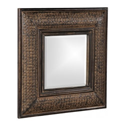 Howard Elliott - Grant Square Antique Brown with Copper Mirror - Our Grant Mirror features a Antique Brown w/ Textured Copper Metal Overlay on a wood frame