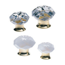 """Crystal Cabinet Knob - This cabinet knob is unique because it is crafted from lead crystal, not glass. It is available in either transparent (clear) or satin (frosted). This cabinet knob is the picture of romance. The gentle wave design only adds to the mystique--the fluid movement of the crystal heightening the beauty of the piece.  Available in two sized and with a base finish of either polished brass or polished chrome.  Shown and priced in 1-3/16"""" diameter with polished brass base with transparent crystal."""