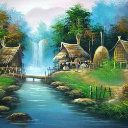 Oriental-Decor - Oriental Village Painting - Set deep in the heart of the Asian countryside, this scene is reminiscent of the long-standing Oriental villages that existed in synchronicity with nature. The brilliant shades of brown and green evoke feelings of being at one with the Earth. Place this entrancing painting on any wall to bring home a touch of Asia.
