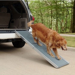 "Solvit - Deluxe Telescoping Pet Ramp - Features: -Telescoping pet ramp. -Super lightweight at 13 lbs and it supports over 400 lbs with no bending. -Combination aluminum and plastic design make it the lightest and strongest pet ramp on the market. -Infinitely adjustable from 39"" to 72"" - perfect for all heights to 36"". -High-traction walking surface gives pets a sure footing, especially on steep climbs. -Ultra-stiff design utilizes four rubber feet to keep the ramp stable while in use. -Includes a convenient carry handle and safety release latch to prevent accidental opening. -Telescoping design is the secret to making this ramp so easy to use - just slide it out to use and slide it in to stow. -No clumsy folding and unfolding required. -Shorten the ramp when space is limited or when the upper surface isn't as high, such as a bed, couch, or minivan. -Utilizes four rubber feet to keep the ramp stable while in use. -One year warranty. -Dimensions: 4"" H x 39"" W x 17"" L."