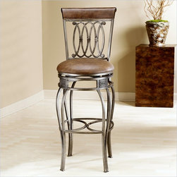 Hillsdale - Hillsdale Montello 32 Inch Swivel Bar Stool in Antique Finish - Hillsdale - Bar Stools - 41545 - The best of traditional and modern design merge in the artfully crafted Montello 32 Inch Swivel Bar Stool from Hillsdale. From the lustrous distressed brown antique-style metal finish to the durable faux leather seat and back the Montello is a classic look for contemporary homes. A scroll-style pattern of interlocking ovals can be found throughout this sophisticated chair. Add a pair of these swivel bar stools with back support to your kitchen bar seating or to a patio pub table. Complete the atmosphere of your living room or basement cocktail bar.