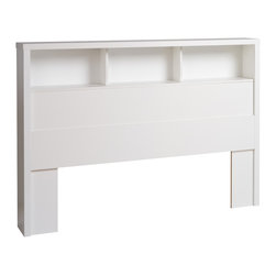 Prepac Calla Double / Queen Headboard in Pure White - This free-standing headboard offers a bold thick top and functional storage provided by 4 storage shelves. Working well with a variety of double / queen size bed frames, the Prepac Calla Headboard in Pure White Laminate is inspired by chic cosmopolitan design. The Calla Collection blends modern lines and pure white laminate finish.