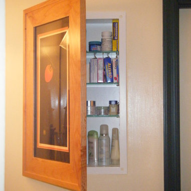 Recessed Picture Frame Medicine Cabinets with No Mirrors - Extra Large Maple Concealed Cabinet with white interior from ConcealedCabinet.com.  You insert your own artwork and change it as often as you like!