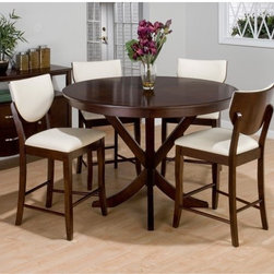 Jofran Satin Street 5 Piece Round Counter Height Set - High-contrast colors and unexpected shapes make the Jofran Satin Street 5 pc. Round Counter Height Set a fresh choice for transitional dining rooms. This modern-traditional set includes four armless chairs and a round table with a dramatic cross-legged pedestal base each crafted with durable solid hardwood and strengthening veneers in a warm satin walnut finish. The chairs boast high half-moon backs and bright white upholstery. Option to choose the counter height dining set only or add on the matching dining server for an additional storage piece or showcase your fine dining items. Dimensions Table: 54 diam. x 36H inches Chairs: 21W x 25D x 35H inches Server: 54W x 18D x 36H inches About Jofran FurnitureJofran is a seller of fine home furnishings based in Norfolk Mass. Launched in 1986 Jofran is known for the high-quality materials and meticulous methods that go into producing its products. Jofran furniture is easy to assemble and includes various styles from all around the world making it easy to find a piece that suits your home decor.