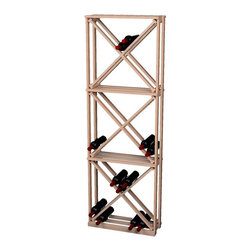 Wine Cellar Innovations - Traditional Series Diamond Cube Rack for 132 Bottles - The Redwood & Pine Open Diamond Cube wine rack is 1 column wide x 3 cubes high. Each open diamond cube has 4 quadrants holding 10 wine bottles for a total of 40 wine bottles stored per quadrant, 132 wine bottles stored per Redwood & Pine wine rack with the addition of a wine case stored on the top of the wine rack. Assembly required.