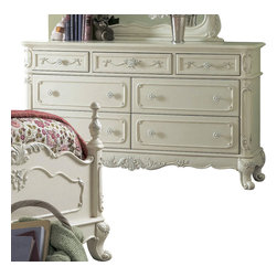 Homelegance - Homelegance Cinderella 56 Inch Dresser in White - The Cinderella collection is your little Child's dream. The Victorian styling incorporates floral motif hardware, ecru painted finish and traditional carving details that will create the feeling of a room worth of a fairy tale princess.