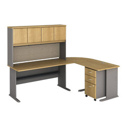 Bush - Bush Series A 5-Piece L-Shape Computer Desk in Light Oak - Bush - Office Sets - WC64360PKG3 - Bush Series A 3 Drawer Vertical Mobile Wood File Cabinet in Light Oak (included quantity: 1) Put your files in good hands with the Bush Series A Collection Three Drawer File Cabinet, a subtle solution which fits easily under virtually any desk. This classy filing cabinet stands nicely on its own and will excellently complement other Bush Furniture pieces.  Features: