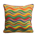 Color Waves Square Pillow - Ride on the current of vibrant colors and encompass the tantalizing affects of our Color Waves Pillow.  Handcrafted from all natural materials this throw is a kaleidoscope of harmonious hues and an epiphany of comfort.