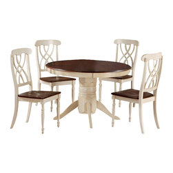 Monarch Specialties - Monarch Specialties 6 Piece 48x48 Dining Room Set in Antique White - Finished in a walnut veneer, this traditional pedestal table will create the perfect look for intimate dinners or casual get togethers. The round shaped piece features curved edges, turn post legs, and is brushed in an antique white color. This table has a simple yet stylish look that can blend into any decor. These armless dining chairs compliment the style of the dining table with their sleek lines and antique white finish. With turn post legs and a unique interlacing curve motif, these pieces are completed with a warm, walnut colored seat. This antique white display server has two shelves enclosed in glass doors making this piece ideal for storing kitchen supplies. With a walnut veneer top, this simple server will give your home a stylish update. What's included: Table (1), Side Chair (4), Server (1).