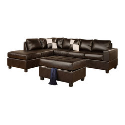 Poundex - Poundex F7351 Espresso Bonded Leather Living Room Sectional Sofa - The Poundex F7351 sectional sofa has a simple modern look that works for any living room decor. This sectional comes upholstered in a beautiful espresso bonded leather in the front. Skillfully chosen match material is used on the back and sides where contact is minimal. High density foam is placed within the cushions for added comfort. Only hardwood products were used when crafting the sectional making it very durable. The two patterned accent pillows and matching ottoman shown come included. Attached to the bottom are brown finished wooden legs.