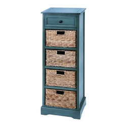 BZBZ96182 - Woodcraft Style Cabinet with 4 Vertical Wicker Baskets - Woodcraft Style Cabinet with 4 Vertical Wicker Baskets. This cabinet is made with solid wood pieces polished and treated in a French countryside blue color. Included are 4 levels of Baskets that slide in and out like attractive wicker drawers and with such a beautiful look, you can enjoy this cabinet virtually anywhere. Use it perfectly in the master bedroom or the spare guest room.