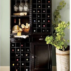 """Modular Bar System, Black - A stylish alternative to built-in cabinetry, the Modular Bar System organizes, stores and displays your entertaining essentials. 36"""" wide x 14"""" deep x 70"""" high Crafted of mahogany, hardwood and mahogany veneer. Includes one Wine Grid Base, one Cabinet Base, one Open Hutch and one Wine Grid Hutch. Hutch can hold a total of nine hanging wine glasses. Wood swatches, below, are available for $25 each. We will provide a merchandise refund for wood swatches if they're returned within 30 days. Catalog / Internet Only. View our {{link path='pages/popups/fb-dining.html' class='popup' width='480' height='300'}}Furniture Brochure{{/link}}."""