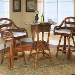 Tigre Bay Rattan Bar Set of 3 - Have a drink and a bite to eat with your loved ones and friends while you sit comfortably on our Tigre Bay Rattan Bar Set. Tigre Bay swivel bar stools surpass the expectations in comfort, beauty, and value of the typical rattan bar set. Use it as a bar set or a high dining set!