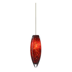 Besa Lighting - Besa Lighting 1XT-409641 Juliette 1 Light Halogen Cord-Hung Mini Pendant - The Juliette pendant inverts a narrow teardrop glass, that will gracefully blend into almost any decorating theme. Our Garnet glass is full of floating, vibrant red tones with a mix of black and white tones behind them. When the glass is lit the fiery color palette illuminates to exude a harmonious display. This decor is created by rolling molten glass in small bits of deep red hues called frit along with black glass powders. The result is a multi-layered blown glass, where frit color is nestled between an opal inner layer and a clear glossy outer layer. This blown glass is handcrafted by a skilled artisan, utilizing century-old techniques passed down from generation to generation. Each piece of this decor has its own artistic nature that can be individually appreciated. The 12V cord pendant fixture is equipped with a 10' braided coaxial cord with teflon jacket and a low profile flat monopoint canopy.Features:
