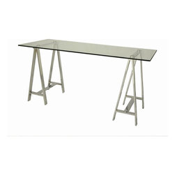 """Pastel Furniture - Pastel Furniture Estonia 62x28 Rectangular Office Desk w/ Glass Top - The Estonia Desk with 28"""" x 62"""" rectangular glass top features clean-lined Chrome metal frame. This unique yet simple design can not only be paired beautifully with any office chairs, but can also be used alternatively as a dining table."""