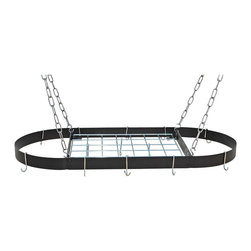 Rogar - Medium Size Oval Hanging Pot Rack w Grid - Hanging pot rack. Made from steel. Oval shape. Black color. 37.5 in. L x 18 in. W x 2 in. H (13 lbs.). Ten J shape chrome hooks. Four S shape chrome hooks. Four chrome ceiling hooks. Four 18 in. chrome chain. Some assembly required. Powder coated. Plated steel. Assembly Instructions