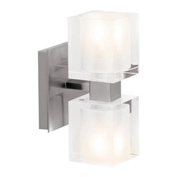 Access Lighting - Access Lighting 23906-BS/FCL Astor 2 Light Bathroom Vanity Lights in Brushed Ste - Crystal Wall-Vanity Fixture