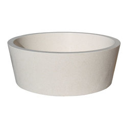 "TashMart - Tapered Natural Stone Vessel Sink, Limestone - The Tapered Vessel Sink can be used as a semi-recessed or above the counter vessel sink.  This sink is made from one solid piece of natural stone.  The sink measures 16"" at the rim, then tapers down slightly towards the base.  This natural stone sink is available in limestone, light travertine, sea grass marble and beige marble."