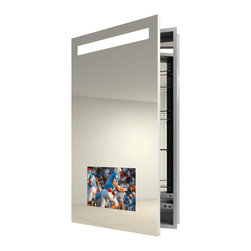 Electric Mirror - Re-creation Left Recessed Medicine Cabinet - Re-creation medicine cabinet available in right or left hinge, recessed or surface mount, and with defogger. 15.6 LED HDTV integrated into mirror door. AV mirror technology provides reflective surface when TV is off. Available in satin finish. GlassWaves audio integrated into mirror door. 720p, 1080i, 16:9 widescreen ratio. Waterproof buoyant remote included. HDMI and RF input. Left/Right audio out. ATSC/NTSC QAM TV Tuner. Designed for humid bathroom environments. 9 watt, 120 volt, LED module included. 23.25W x 40H x 4D.