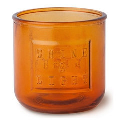 WS Bath Collections - Saon 44015 Colored Glass Candle Holder, Orange - Saon by WS Bath Collections, Candle Holder in Colored Glass
