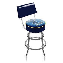 Trademark Global - Bar Stool w Padded Seat & NHL St. Louis Blues - Equally adept during mealtime or game night, this hockey-themed bar stool has the features you want at exceptional value. Official NHL licensed St. Louis Blues logo featured on vinyl upholstered seat. Steel base has retro chrome highlights and stabilizing rings. Adjustable levelers. Long lasting officially licensed NHL team logo. Great for gifts and recreation decor. 7.50 in. High padded seat. 30 in. High bar stool great for bar pub table and bars. Commercial grade vinyl seat. Chrome plated double rung base. 14.75 in. W x 14.75 in. D x 30 in. H (17 lbs.)This National Hockey League Bar Stool will be the highlight of your bar and game room.