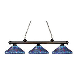 Three Light Bronze Tiffany Glass Island Light - Elegant and traditional best describes this beautiful three light fixture. Finished in oil rubbed bronze and paired with decorative tiffany glass shades, this three light fixture would be equally at home in the game room, or anywhere else in the house needing a touch of timeless charm. 72 inches of chain per side is included to ensure a perfect hanging height.