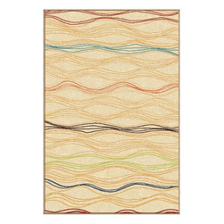 "Orian - Orian Veranda Louvre (White) 5'3"" x 7'6"" Rug - The Veranda Collection combines the benefits of outdoor functionality with the pizzazz of contemporary fashion. The contrast of earthy neutral colors with exciting, brilliant accent colors create an exciting new element to your decor that brings any space to life."