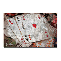 Ready2HangArt - Ready2HangArt Alexis Bueno 'Poker II' Canvas Wall Art - This abstract canvas art is the perfect addition to any contemporary space. It is fully finished, arriving ready to hang on the wall of your choice.