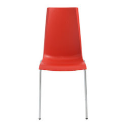 Eurostyle - Mannequin Chair (Set of 4) - Red/Chrome - Fiberglass reinforced recyclable polypropylene shell