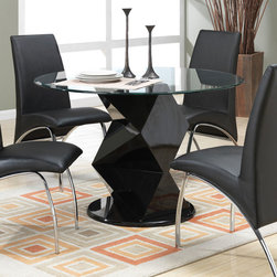 Coaster - Ophelia Dining Table - The sleek contemporary style of this set will create a sophisticated focal point in your updated kitchen or dining room. The bold black zig zag table base compliment the black vinyl arch design of the chairs. The graceful curves and designs of this group as a whole add to the chic modern appeal.