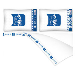 Sports Coverage - NCAA Duke Blue Devils Football Full Bed Sheet Set - Features: