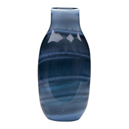 Dynasty Gallery - Agate Indigo Handmade Glass Vase - Both functional and unbelievably eye-catching, these mouth-blown glass vases are rustic in shape and ready to serve as accent pieces or workhorses, however you see fit to best put them to use.