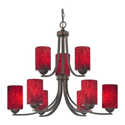 Design Classics Lighting - Art Glass Chandelier with Cylinder Shades and Nine Lights - 586-220 GL1018C - Neuvelle bronze two tier chandelier with red art glass cylinder shades and nine lights. Takes (9) 100-watt incandescent A19 bulb(s). Bulb(s) sold separately. UL listed. Dry location rated.