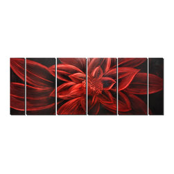 Pure Art - Overflowing Blossom Flower Art Set of 6 - From a black background, this gargantuan scarlet colored passion flower reveals itself in unfolding petal upon petal, delicate layer upon layer. The detail-studded center of the metal artwork features a layered calyx with the placement of its sepals and the petals of the flower juxtaposed to create a boldy dramatic, multidimensional effectMade with top grade aluminum material and handcrafted with the use of special colors, it is a very appealing piece that sticks out with its genuine glow. Easy to hang and clean.