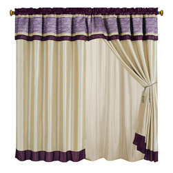 "Sonata Purple Curtains 2 x Panels 60x84""ea. with Valance, 60x84+18 (2-Panels) - Curtain set Includes: 2 Panels 60""Wx84""L + 18"" Attached Valance"