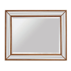 Bassett Mirror - Bassett Mirror LaScala Wall Mirror - This rectangular wall mirror will add depth to any transitional space. Beveled edges and dotted embellishments in antique gold complement a full-sized mirror that would look great hanging in your hallway or over a bedroom vanity.